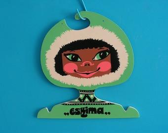 RARE Vintage collectible plastic children's clothes coat face hanger shop display child's head Eskimo Inuit girl retro 1970s