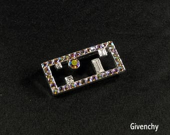 Givenchy Signed Rectangular Silver Toned Brooch with Swarovski Rhinestones- Letter G for Givenchy is working into the design- Vintage 1980s