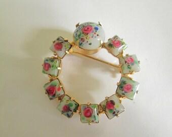 Art Glass Rose Brooch. Abstract Rose Brooch. Pink Rose Brooch. Fancy Rose Jewelry.
