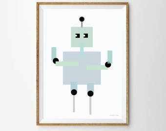Robot Children's Print, nursery poster, nursery wall art, robot poster, robot, robot theme, kids wall art, kids poster, kids art, kids decor