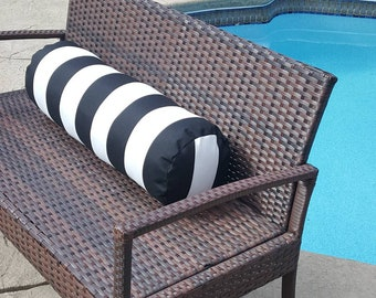 Indoor Outdoor Bolster Pillow Cover Premier Prints Vertical Stripe Black n White 16x6, 18x6, 20x6, 16x8, 18x8, 20x8, custom size with Zipper