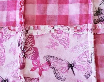 Beautiful Pink and Purple Butterflies with Pink Plaid Rag Quilt/Blanket