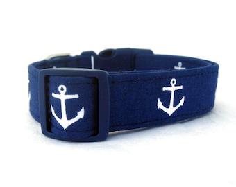 Navy Blue Dog Collar - Anchors on Navy