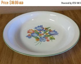 On Sale Corelle Fresh Cut Pattern Peach and Light Blue Tulip 10 inch Large Pasta Bowl Green Rim  Vintage Kitchen Collectible