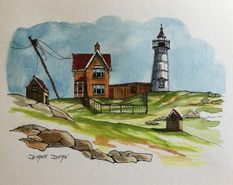 Fine Art Watercolor and Pen Painting of Nubbins Lighthouse