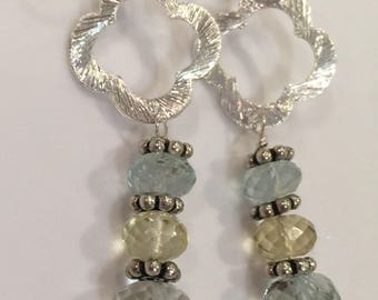 Green Amethyst, Lemon Quartz and Aquamarine Rondelle Drops on Brushed silver Quatrefoil Dangles   Boho Jewelry   Amethyst Earrings