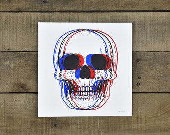 3D Skull 8-8in Screen Print