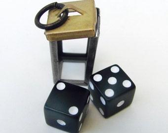 Vintage 3d Caged DICE charm. Opens. Gambler. Black. Brass. Lucky 7. Dudes Pendant. Rockabilly. 1970s. S48