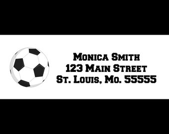 30 Personalized Return Address Labels  - Soccer