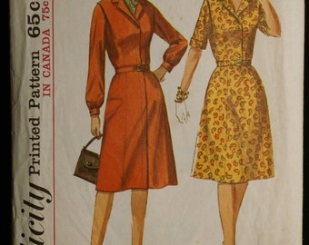 Simplicity 6194 Misses Shirtwaist Dress with Gored Skirt Vintage 60s Sewing Pattern