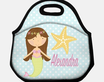 Mermaid lunchbox, Lunchbox, Lunch bag, Lunch tote, Personalized lunch box, Children's lunchbox, Girls lunchbox, Insulated lunch bag, Mermaid