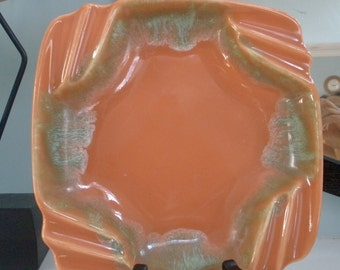 Mid Century Modern Turquoise And Orange Candy Dish