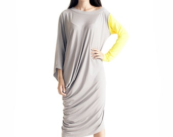 Asymmetrical Tunic Dress / Kaftan / Off Shoulder Dress / Maxi Blouse/ Grey Yellow Sleeve  A03052