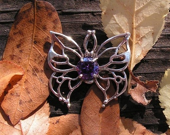 Sterling Silver Butterfly Pendant With Amethyst