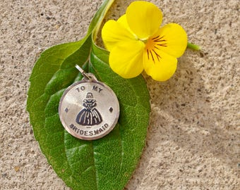 Vintage Sterling Silver Bridesmaid Charm or Pendant, Blank Engravable Reverse, Bridesmaid Gift, FREE SHIPPING