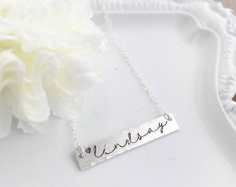 Bar Necklace . Personalized Bar Necklace . Name Bar Necklace . Engraved Bar Necklace . Sterling Bar Necklace . Gold Bar Necklace . Handmade