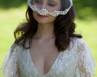 Birdcage Veil, Bridal Cap, Pearl Beaded Lace, Tulle Veil, Bridal Veil, Floral Lace Veil