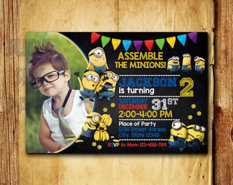 Minion invitation etsy minion invitation minion birthday invitation minion birthday party minion invitation with photo filmwisefo Image collections