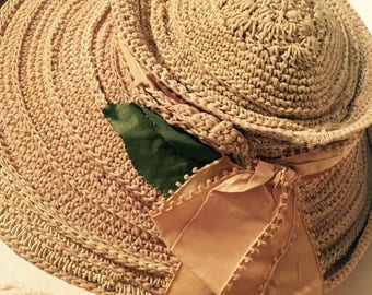 Vintage// Victorian// Crocheted Hat// Taffeta Silk Ribbon// Wonderful Condition!