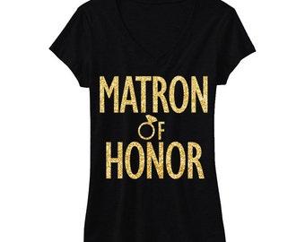 MATRON of HONOR GLITTER Bridal Shirt V-neck, Black with Gold print, Wedding shirt, Bridal shirt, Bride Vneck, wedding