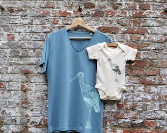 Papa en Baby matching outfit - Mannen T-shirt en baby romper met ooievaar print - vaderdag kraamgeschenk papa - ooievaar - ArtEffectPrints
