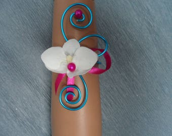 Floral bracelet with Orchid - turquoise and fuchsia