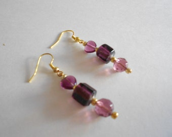 Purple Earrings Purple Glass Beads Glass Beads Earrings Gold Tone Findings Beaded Earrings Dangle Earrings Pierced Earrings