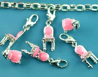 """2 charms armchair """"bergere"""" pink enameled metal and rhinestone pink 37x9mm"""