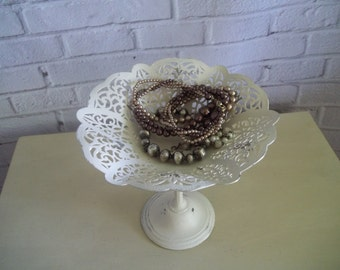Painted Metal Pedestal Bowl - Vintage Candy Dish - Shabby French ~ Cottage Chic