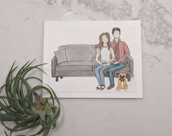 Family portrait | Custom illustration | family drawing | couple drawing  gift | birthday | anniversary | Christmas | house warming gift