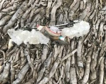 Barrette Quartz Crystal with Abalone Shell