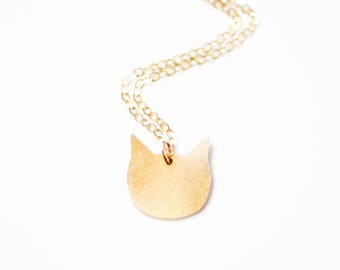 Tiny Cat Necklace   Brass   14k Gold Filled   Sterling Silver
