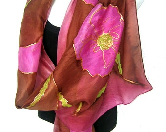 "Hand Painted Silk Scarf, Poppies, Pink Mauve Burgundy Brown, Floral Silk Scarf, 71"" x 18"", Gift For Her"