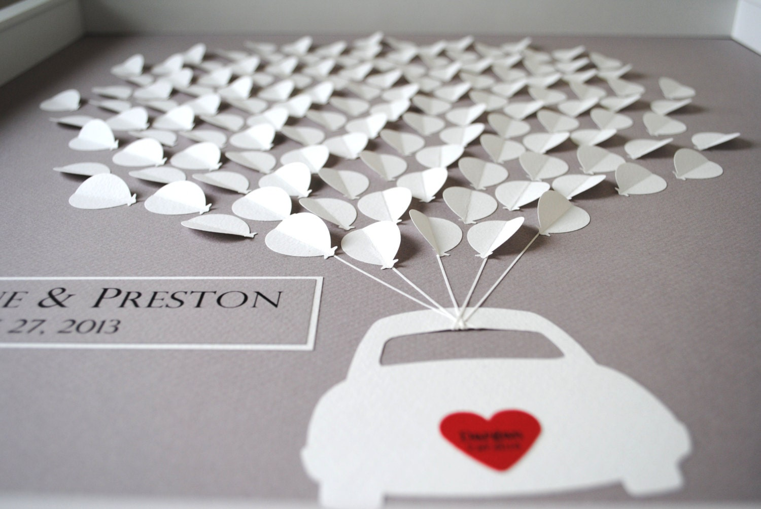 Wedding Guest Book Alternative 3D Balloons car silhouette