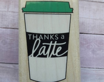 Thanks A Latte Wood Mounted Rubber Stamp Scrapbooking & Paper Craft Supplies