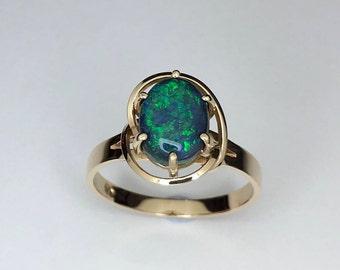 Black opal gold ring, Genuine Lightning ridge black opal, Handmade gold ring
