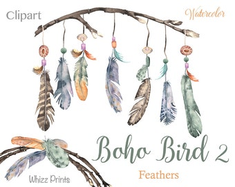 Boho Bird 2: Watercolor feather wreaths, feather watercolor clipart, diy elements, printable png, downloadable feathers, bohemian feathers