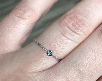 14k solid white gold and genuine blue diamond chain ring , flexible ring , dainty ring , accent ring
