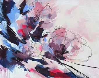 Fleurs abstraites à l'acrylique, Tableau abstrait contemporain unique, peinture moderne sur carton toilé, oeuvre d'art originale
