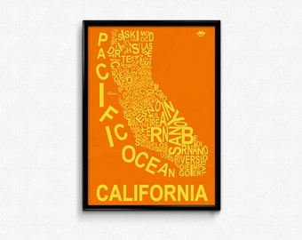 CALIFORNIA County Map Poster