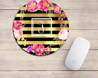 FLORAL Mouse pad/mousepad/watercolor floral/desk decor/girly mouse pad/INITIAL mousepad