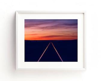 """landscape wall art, landscape prints, landscape photography prints, large art, large wall art, sunset, railroad, trains - """"Railroad Sunset"""""""