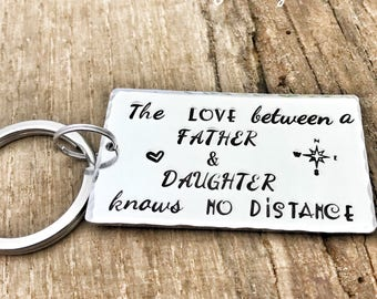 Long Distance Keychain Father, Keychain Father Daughter, Stamped Gift Dad Long Distance, Father's Day Gift