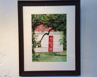 The Red Door, Original Framed Impressionistic Watercolor Painting