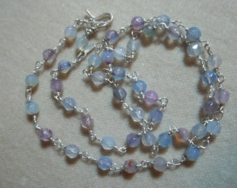 Fluorite Handmade Sterling Chain, 18 inches, Wire Wrapped