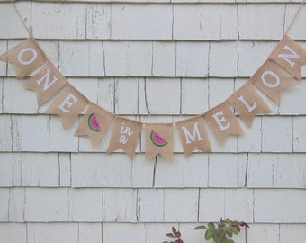 One in a Melon Birthday, One In A Melon Banner, Watermelon First Birthday, Watermelon Birthday Party Decor, Watermelon 1st Birthday Banner