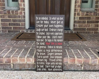 Family Rules ~House Rules Sign ~Your Life Is Now~Family Rules Custom Wood Sign~Life Rules~Inspirational Sign~Personalized Family Values Sign