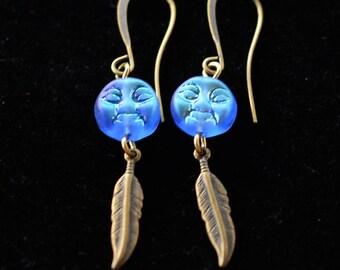 Moon Feather Earrings, Boho Moon Earrings, Blue Moon Earrings, Feather Jewelry, Blue Earrings, Boho Earrings, JewelryFineAndDandy, Gift idea