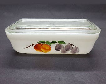 Fire King Glass Gay Fad Fruits Decorated Leftover-Refrigerator Storage Dish