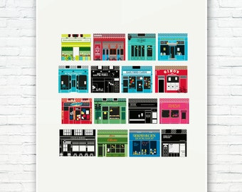Stoke Newington Poster - Independent London - A collection of colour coded Indie shops of Stokey - Illustrated Art Prints of Hackney London